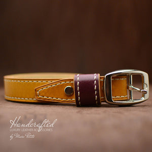 Custom Made Yellow Mustard Leather Belt with Stainless Steel Buckle & Large Leather Burgundy Stud