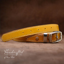 Load image into Gallery viewer, Handcrafted Yellow Mustard Full Grain Leather Belt with Stainless Steel Buckle