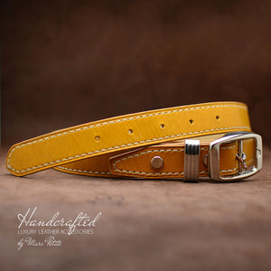 Handcrafted Yellow Mustard Full Grain Leather Belt with Stainless Steel Buckle