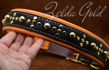 Charger l'image dans la galerie, Medieval leather dog collar in black and orange leather