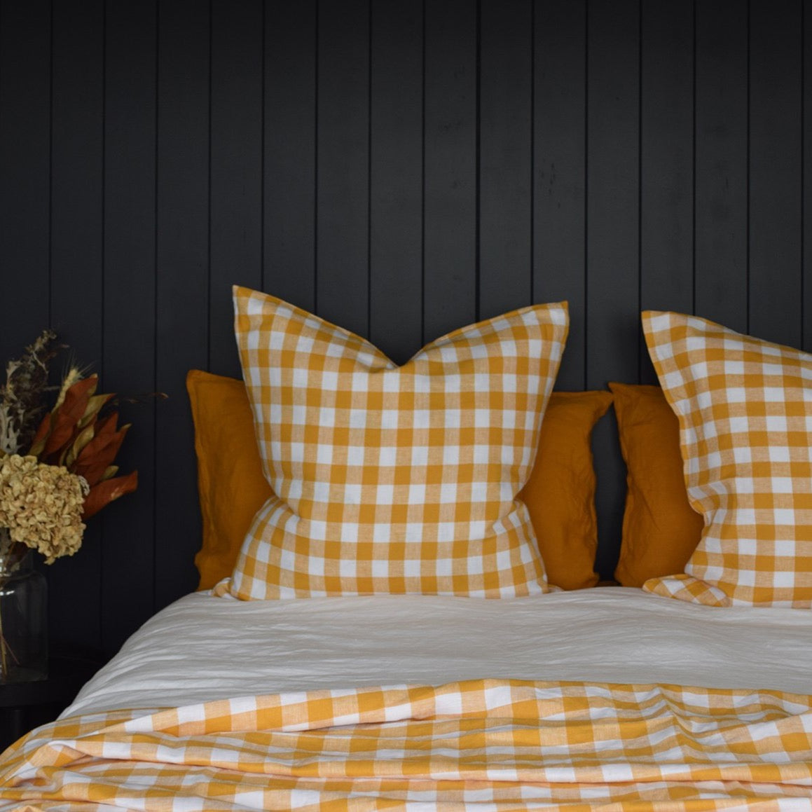 Checkmate European Linen Pillowcase - Marigold