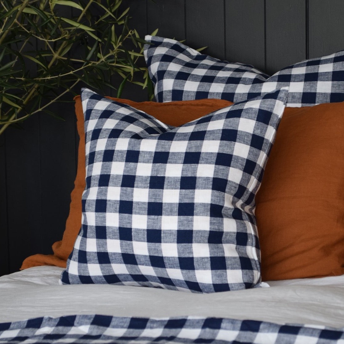 Checkmate Linen Cushion Cover - Indigo