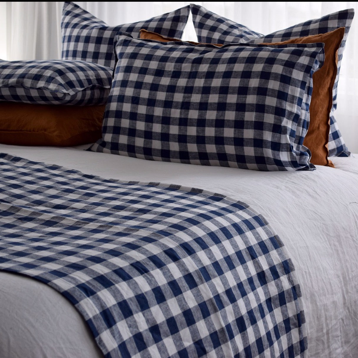 Checkmate Linen Throw - Indigo Gingham