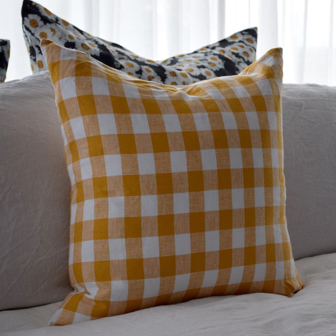 Checkmate Linen Cushion Cover - Marigold