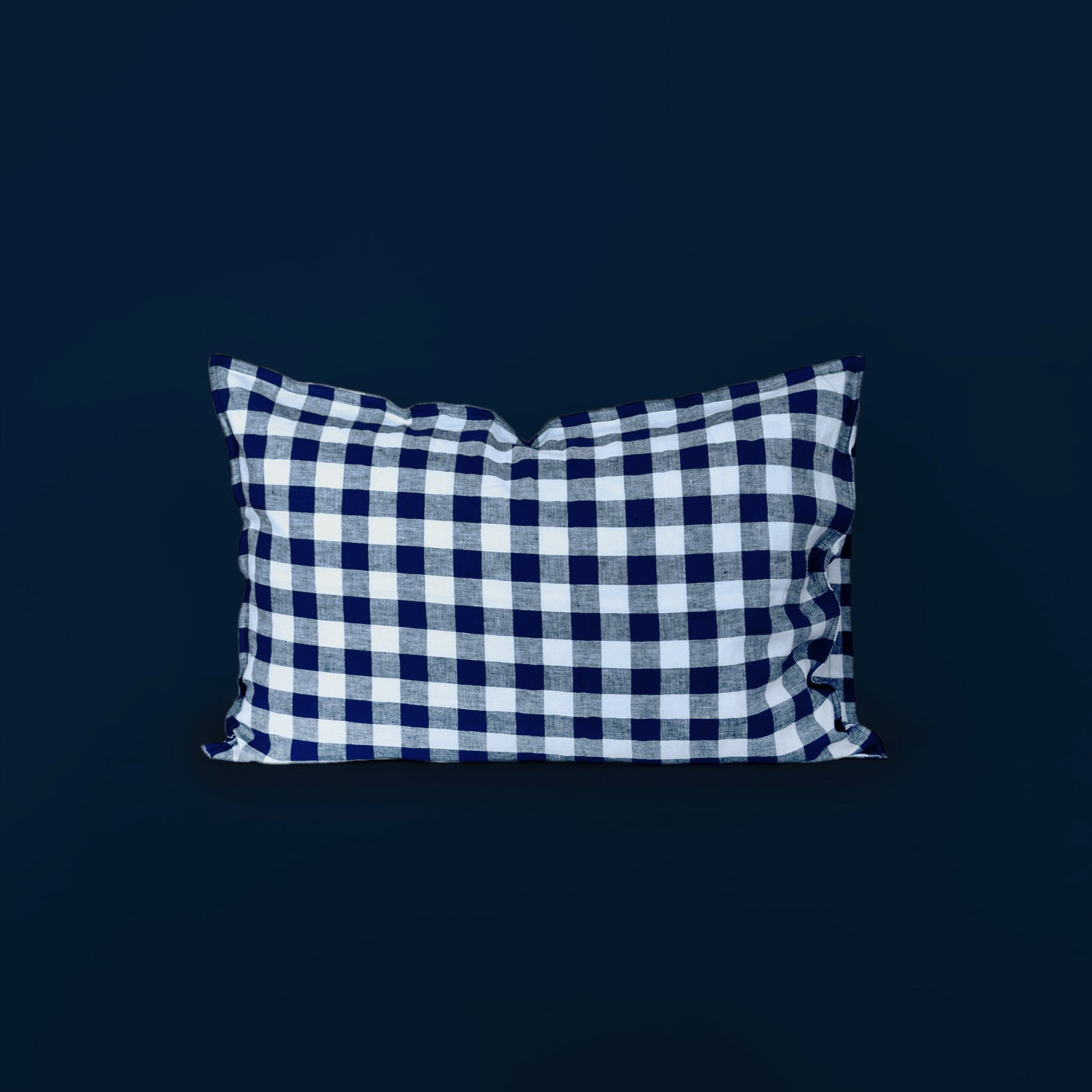 Checkmate Linen Pillowcase - Indigo