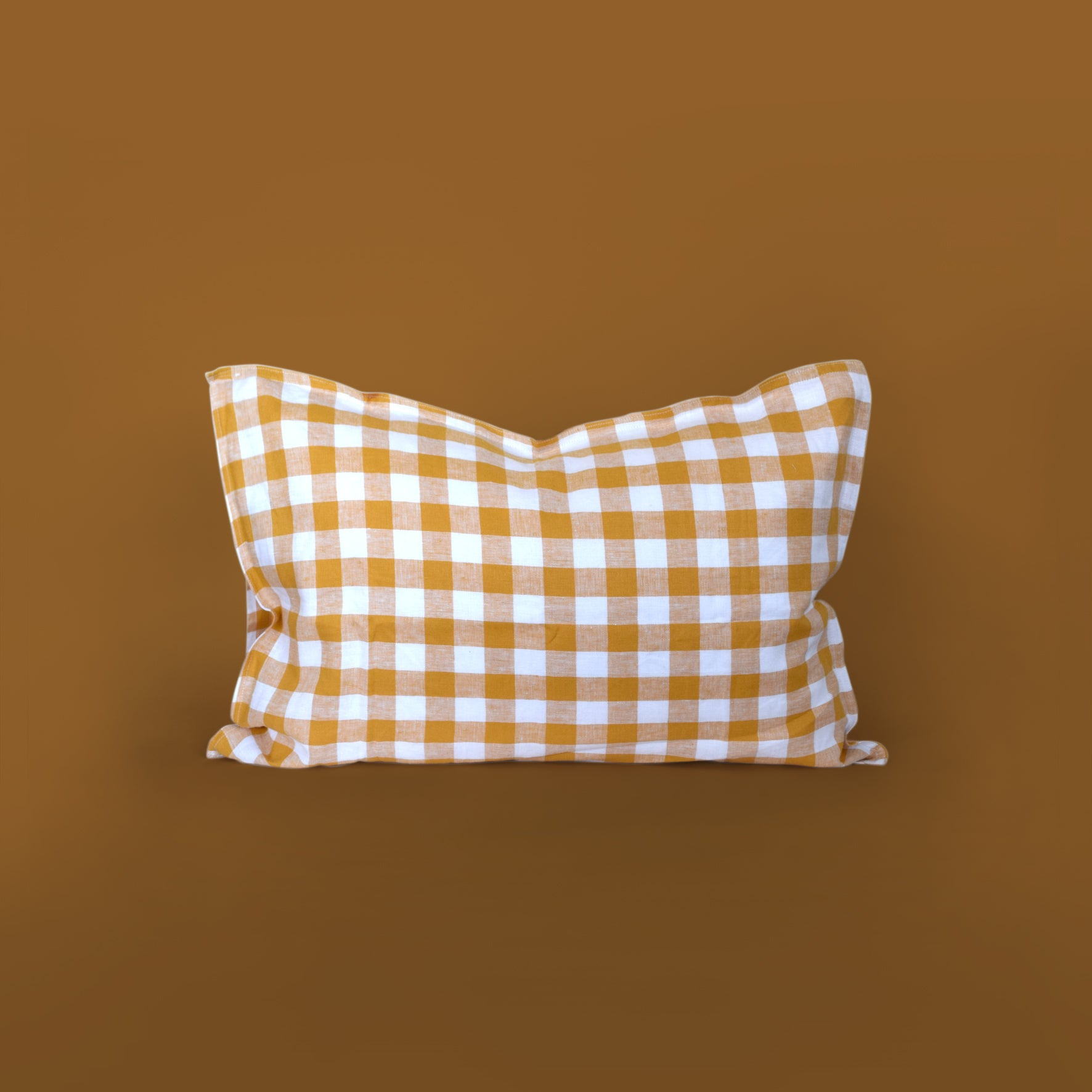 Checkmate Linen Pillowcase - Marigold