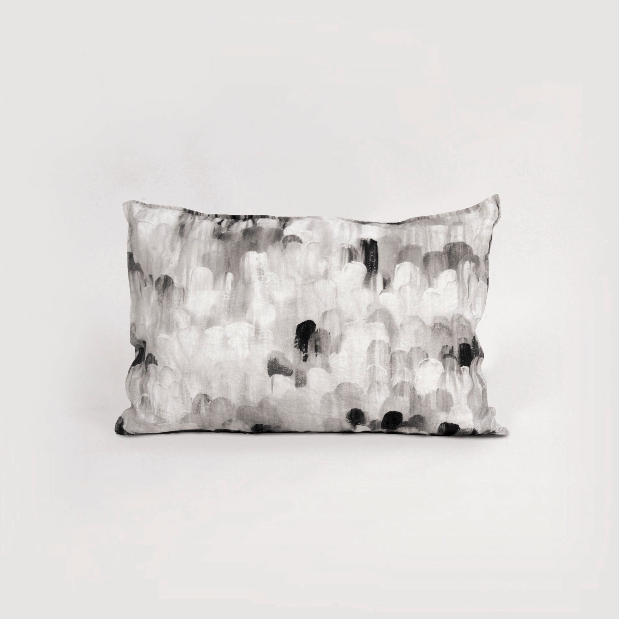 black, white and grey printed linen pillowcase by homebody nz