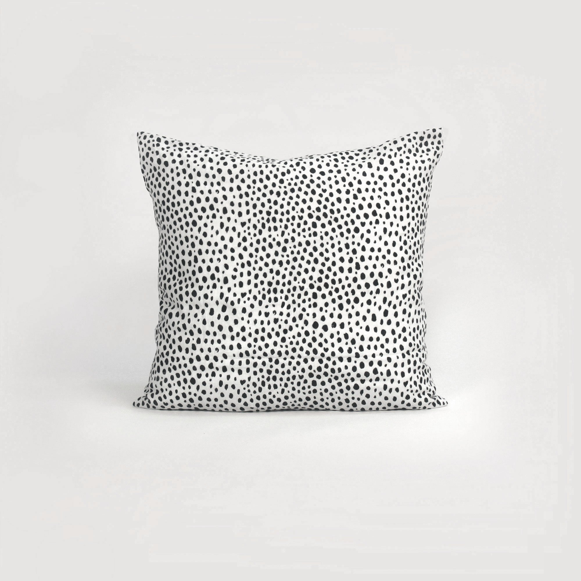 black and white animal print pillowcase. Spot European cushion in natural linen by homebody nz