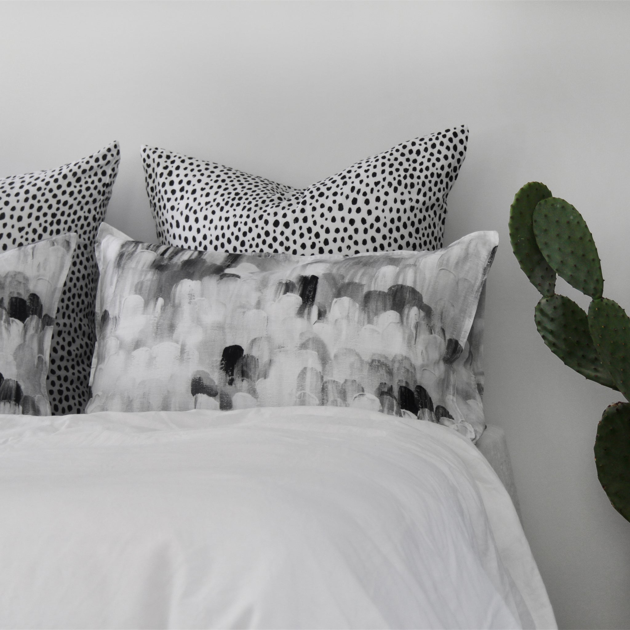 beautiful bed linen styling with printed linen pillowcases by homebody