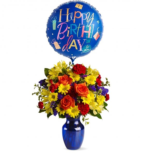Birthday Bouquet of Flowers with Foil Mylar Balloon