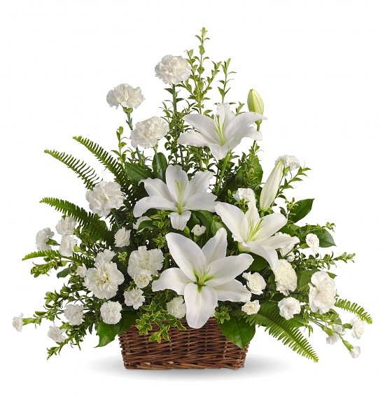 White Lilies Flower Basket