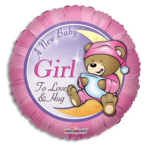 Baby Girl Teddy Bear Foil Mylar Balloon