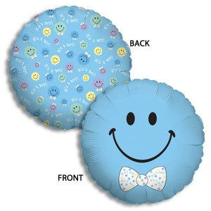 Baby Boy Smiley Foil Mylar Balloon