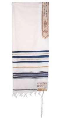 "Tallit-12 Tribes Prayer Shawl-Blue (72"" x 24"")-Acrylic"
