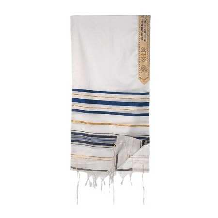 "Tallit-T'fillah (Pray)-Blue-Gold (72"" x 50"")-100% Wool"