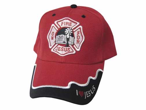 Cap-On Fire For Jesus (FireFighter Emblem)-Red