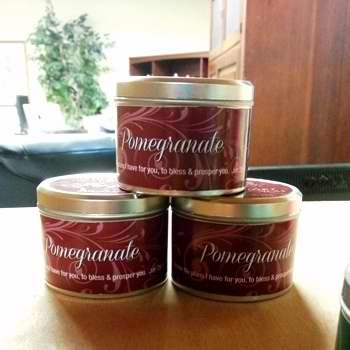 Candle-Pomegranate (New Fragrance) w-Scripture Tin-8 Oz
