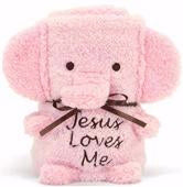Blankie-Sweet Animal-Elephant  Pink-Jesus Loves Me