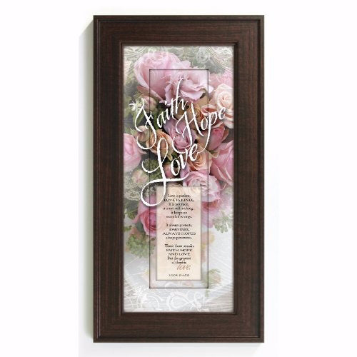 "Framed Art-Words of Grace-Faith Hope Love (8"" x 16"")"