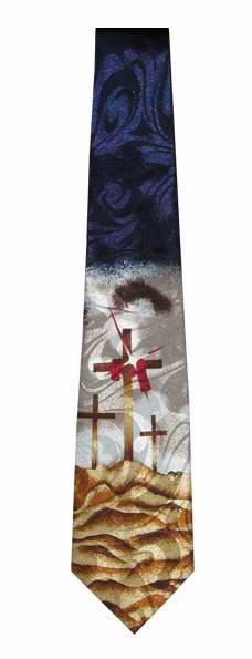 Tie-Three Crosses On Calvary w-Twinkle-Polyester