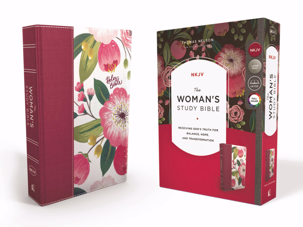 NKJV Woman's Study Bible (Full Color)-Black-Burgundy Floral Hardcover