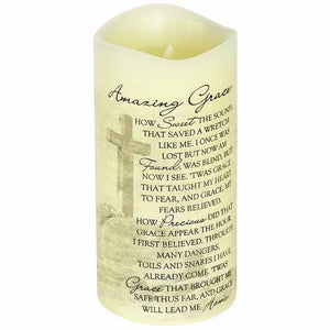 "Candle-Flameless-Premier Flicker-Amazing Grace w-Timer-Vanilla (8"" x 4"")"