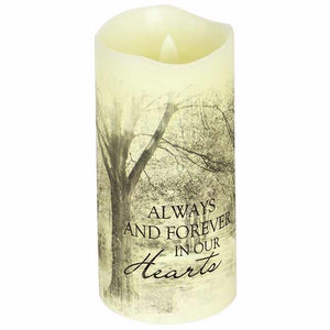 "Candle-Flameless-Premier Flicker-Forever In Our Hearts w-Timer-Vanilla (6"" x 3"")"