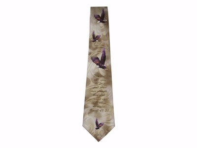 Tie-Eagles-Isaiah 40:31-Polyester-Brown