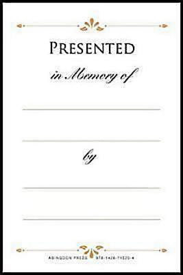 Book Plate-Presented In Memory Of... (Pack Of 48)