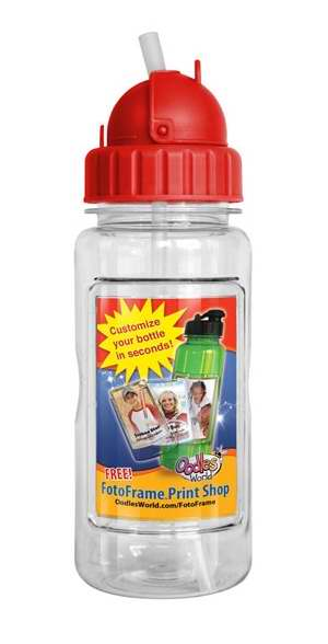 Water Bottle-14 Oz w-Straw & FotoFrame-Red