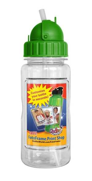 Water Bottle-14 Oz W-Straw & Fotoframe-Green