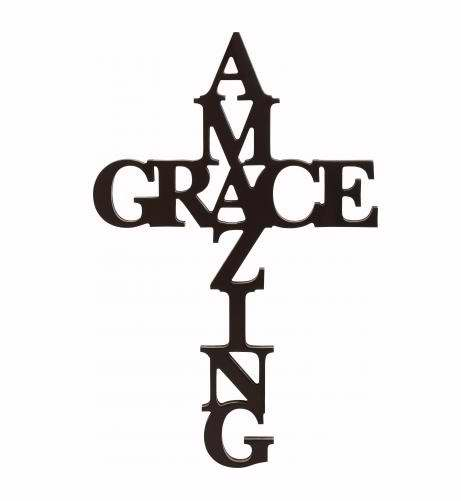 Wall Cross-Script Words-Amazing Grace-Black (24 X 15 X .75)