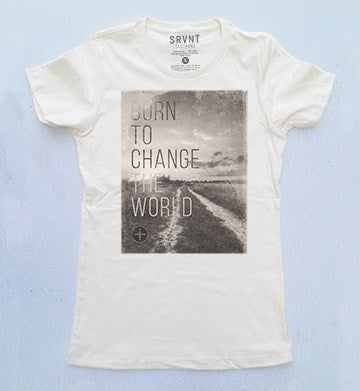 Tee Shirt-Born To Change The World Womens Boyfriend Tee-Xs-Ivory W-Brown-Grey