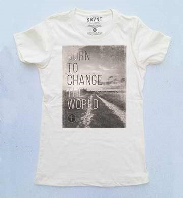 Tee Shirt-Born To Change The World Womens Boyfriend Tee-Medium-Ivory W-Brown-Grey