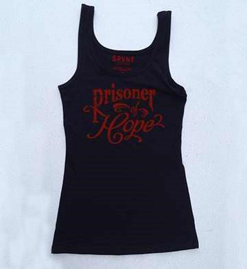 Tee Shirt-Prisoner Of Hope Womens Jersey Tank-Large-Black W-Red