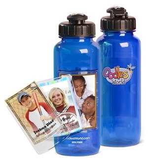 Water Bottle-22 Oz W-Fotoframe-Blue