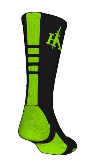 Socks-His Armor Sports-Black-Lime