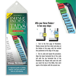 Bible Tab-Verse Finders-X Large Print-Horizontal-Thin Pack-Rainbow