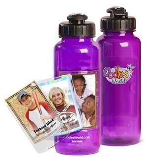 Water Bottle-22 Oz w-FotoFrame-Purple