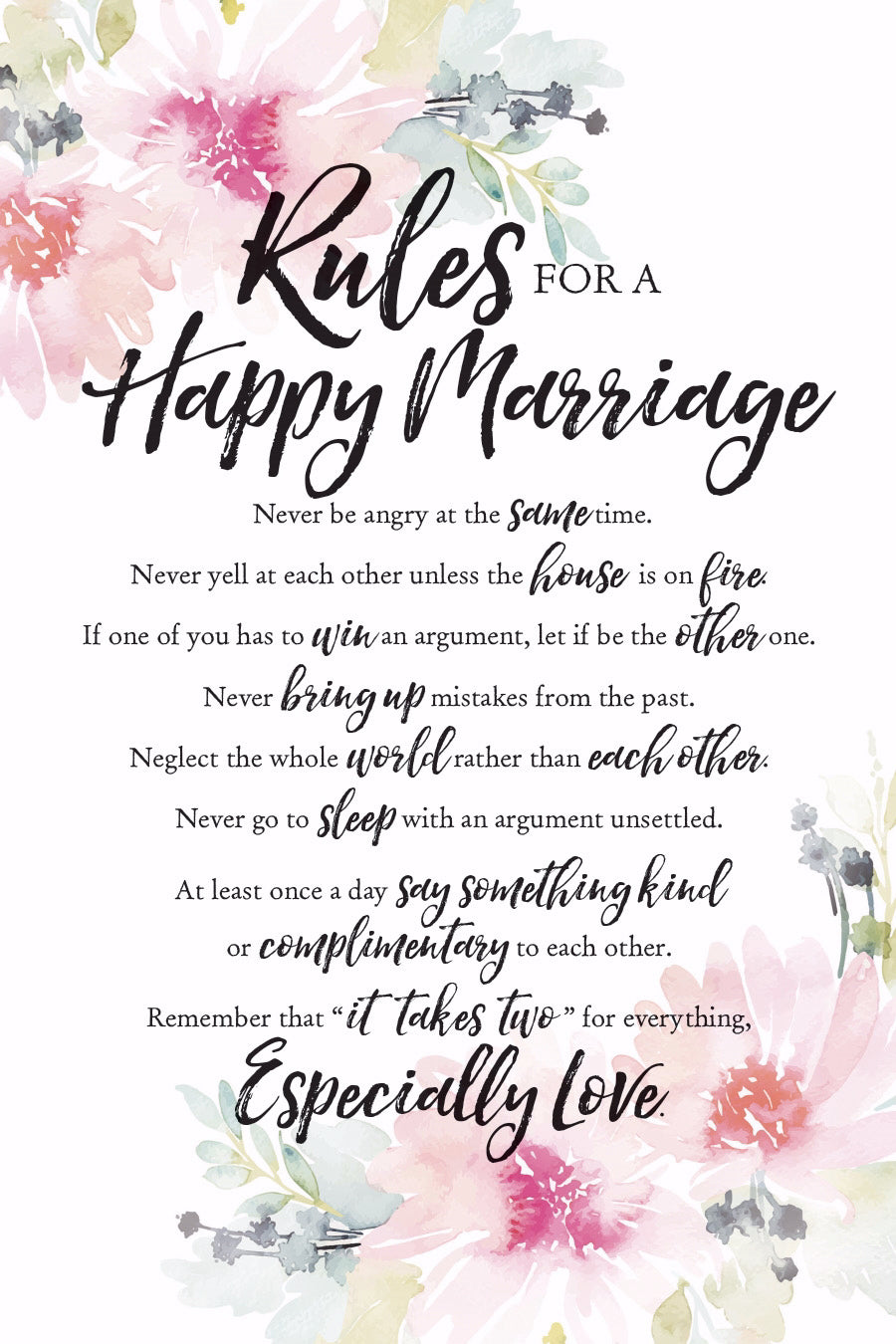 Plaque-Woodland Grace-Rules For Happy Marriage (6 x 9)