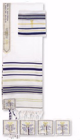 "Prayer Shawl-Dark Blue w-English Corners (72"" x 22"")-Acrylic"