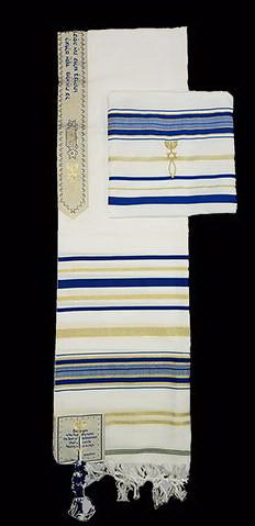 "Prayer Shawl-Blue w-English Corners (72"" X 22"")-Acrylic"
