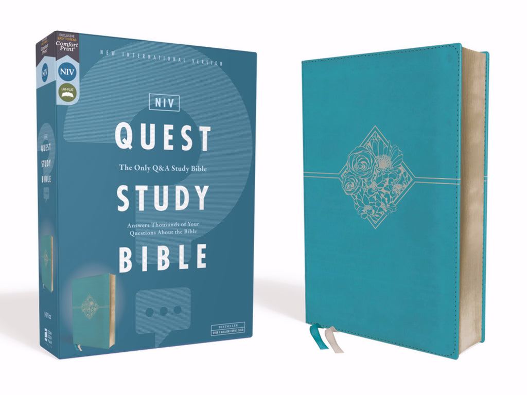 NIV Quest Study Bible (Comfort Print)-Teal Leathersoft
