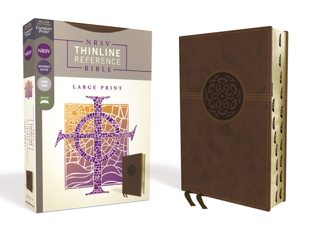 NRSV Thinline Reference Bible-Large Print (Comfort Print)-Brown Leathersoft Indexed