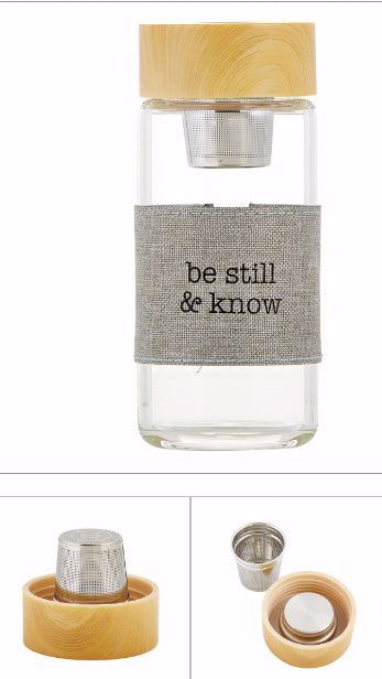 "Bottle-Tea Infuser-Be Still & Know (6"" High 12 Oz)"