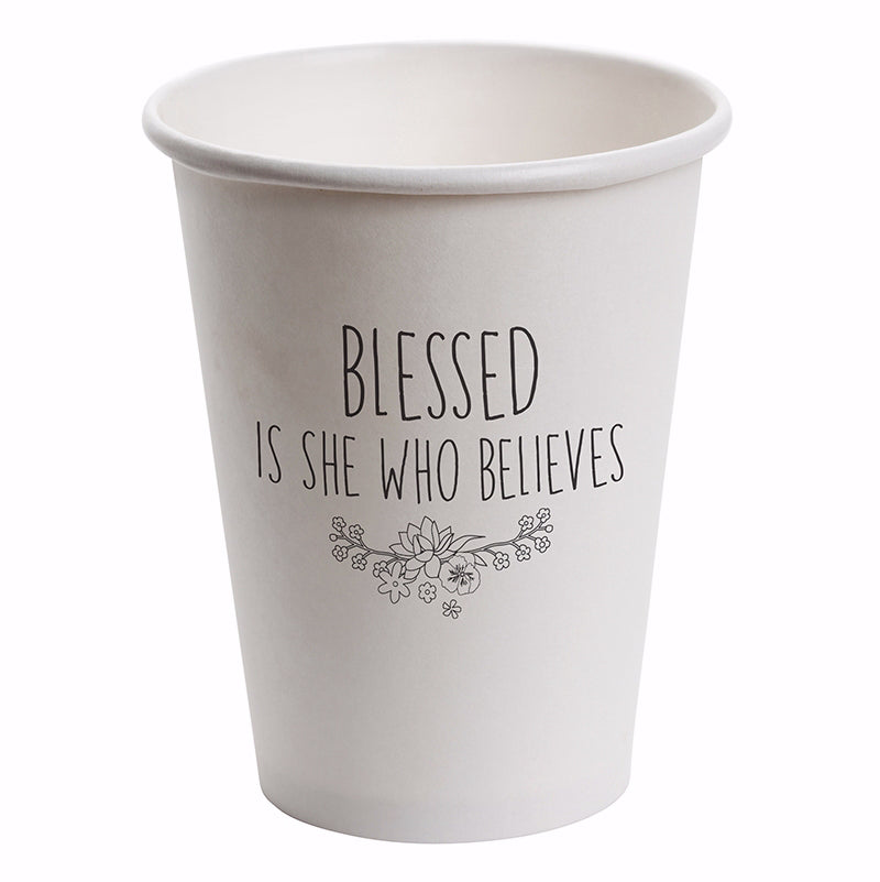 Paper Cups-Blessed Is She Who Believes (12 Oz) (Pack Of 10)