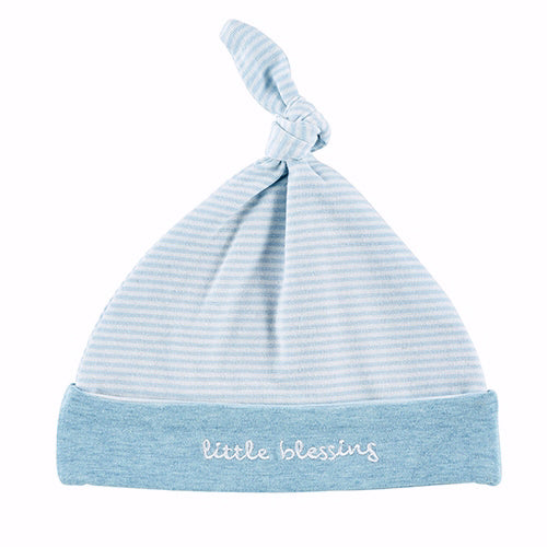 Baby-Knit Hat-Cream-Blue-Little Blessing