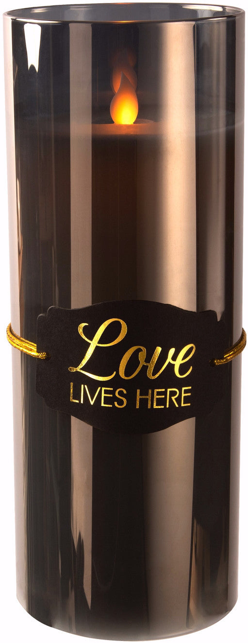 "Candle-Realistic Flame-Love Lives Here-9"" Smoke Lustre"