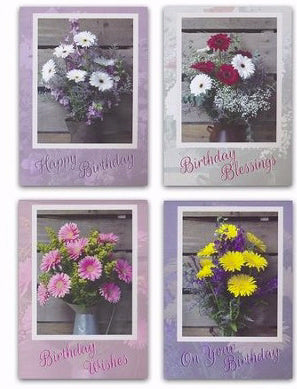 Card-Boxed-Birthday-Daisy Bouquet (Box Of 12)
