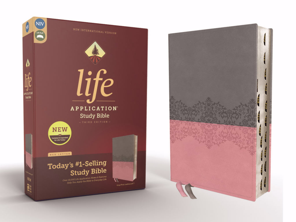 NIV Life Application Study Bible (Third Edition)-Gray-Pink Leathersoft Indexed